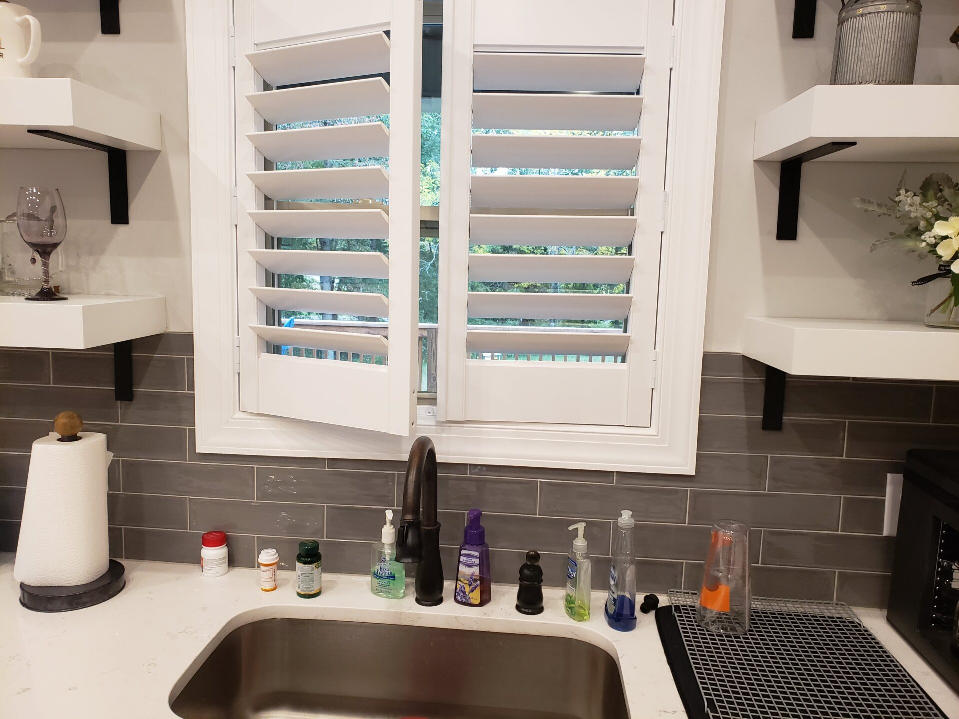 Opened and over the sink Interior Window Shutters / Plantation Shutters Nashville TN
